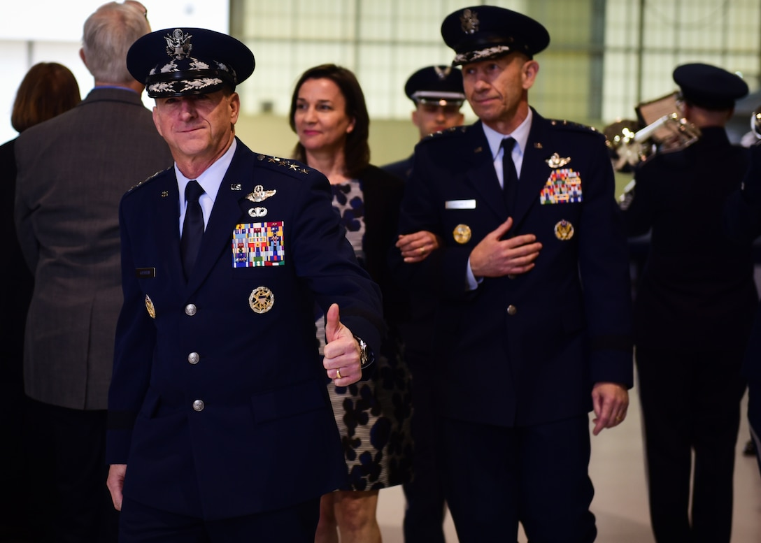 "U.S. Air Force Chief of Staff Gen. David L. gives the thumbs up during ACC's Change of Command ceremony at Joint Base Langley-Eustis, Va., March 10, 2017. During the ceremony, Gen. James M. Holmes assumed command from Gen. Herbert ""Hawk"" Carlisle, who retired after 39 years of service to the Air Force."