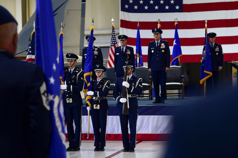 "Langley Air Force Base Honor Guard members present the colors at the Air Combat Command Change of Command ceremony at Joint Base Langley-Eustis, Va., March 10, 2017. U.S. Air Force Gen. James M. Holmes assumed command of ACC from Gen. Herbert ""Hawk"" Carlisle, who retiresd after 395 years of service to the Air Force. (U.S. Air Force photo by Senior Airman Kimberly Nagle)"
