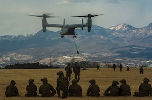 Members of the Japanese Ground Self-Defense Force, 30th Infantry Regiment, 12th Brigade, Eastern Army fast rope out of an MV-22B Osprey tiltrotor aircraft  during Forest Light 17-1 at Camp Soumagahara on Mar. 9, 2017. Forest Light is a routine, semi-annual exercise conducted by U.S. and Japanese forces in order to strengthen interoperability and combined capabilities in defense of the U.S.-Japanese alliance. (U.S. Marine Corps photo by Cpl. Kelsey Dornfeld)