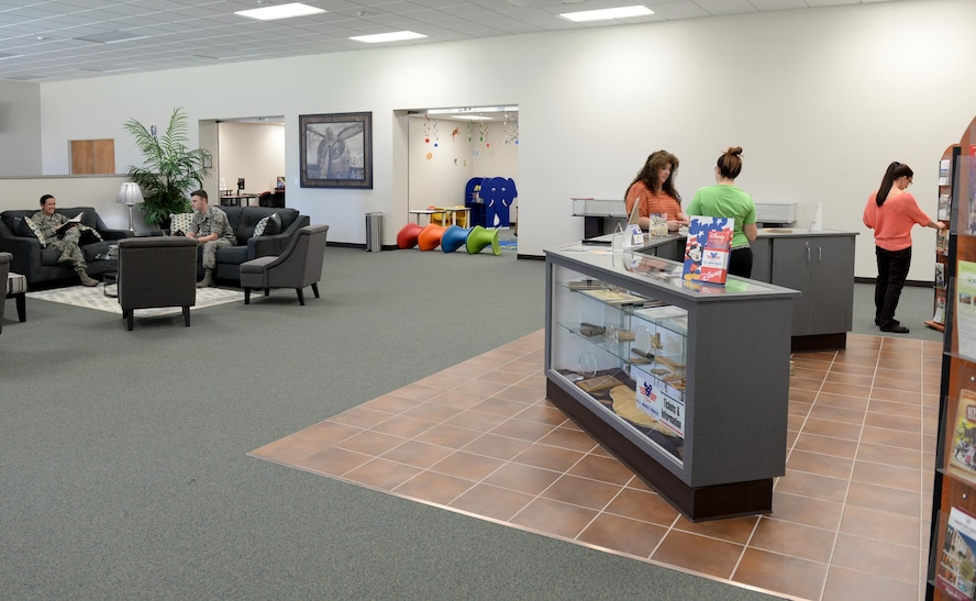 Team BLAZE members utilize the services of the BLAZE Commons March 8, 2017, at Columbus Air Force Base, Mississippi. Once completed, the BLAZE Commons will include a full service coffee shop, complete with a drive-thru. The library section is currently open 11 a.m. - 5 p.m.  Monday – Friday. (U.S. Air Force photo by Senior Airman John Day)