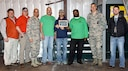 Col. Anthony Sansano, 14th Mission Support Group commander, presents members of the 14th Civil Engineer Squadron the Mississippi Recycling Coalition's 2016 Environmental Hero Award March 9, 2017, at the Columbus Air Force Base Recycling Center. Columbus AFB was presented the award at the Capitol Rotunda March 2 in Jackson, Mississippi. (U.S. Air Force photo)