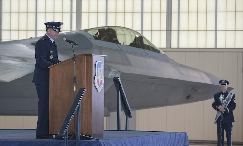"U.S. Air Force Chief of Staff Gen. David L. Goldfein speaks during ACC's Change of Command ceremony at Joint Base Langley-Eustis, Va., March 10, 2017. Gen. James M. Holmes assumed command from Gen. Herbert ""Hawk"" Carlisle, who retired after 39 years of service to the Air Force. (U.S. Air Force photo/Senior Airman Kimberly Nagle)"