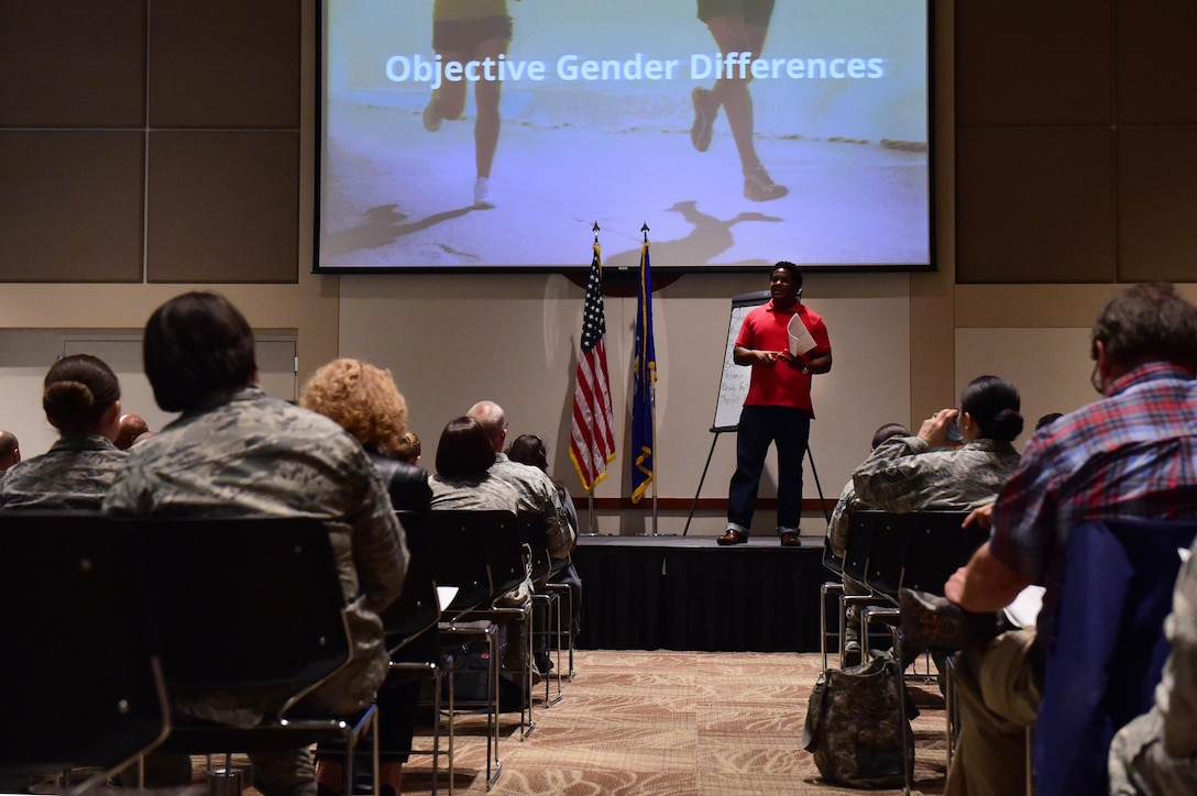 Darius Jones, youth and marriage speaker from the Center for Relationship Education, speaks March 9, 2017, during the Gender Differences Symposium at the Leadership Development Center on Buckley Air Force, Colo. The symposium was the kickoff event for the new mentoring programs on base. Man-to-Man is the group for men, while UpLift is for women. (U.S. Air Force photo by Airman 1st Class Gabrielle Spradling/Released)