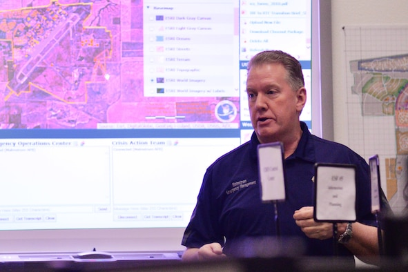 Brian Wilkinson, 341st Civil Engineer Squadron readiness and emergency management flight installation emergency manager, briefs members of the Emergency Operations Center March 9, 2017, at Malmstrom Air Force Base, Mont. In addition to working with the EOC during a crisis, Wilkinson assists with local city, county and state emergency responses and is a member of the State Emergency Response Commission and the Local Emergency Planning Committee. (U.S. Air Force photo/Airman 1st Class Daniel Brosam)