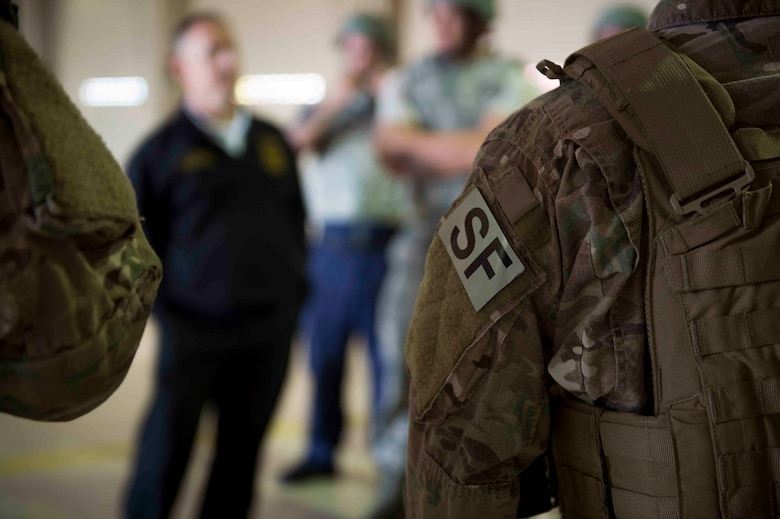Air Commandos are briefed on new procedures for active shooter responses during an exercise at Hurlburt Field, Fla., March 10, 2017. Air Commandos with the 1st Special Operations Security Forces Squadron, 1st Special Operations Civil Engineer Squadron and the 1st Special Operations Medical Group participated in an exercise to practice new procedures for tactical responders. (U.S. Air Force photo by Senior Airman Krystal M. Garrett)