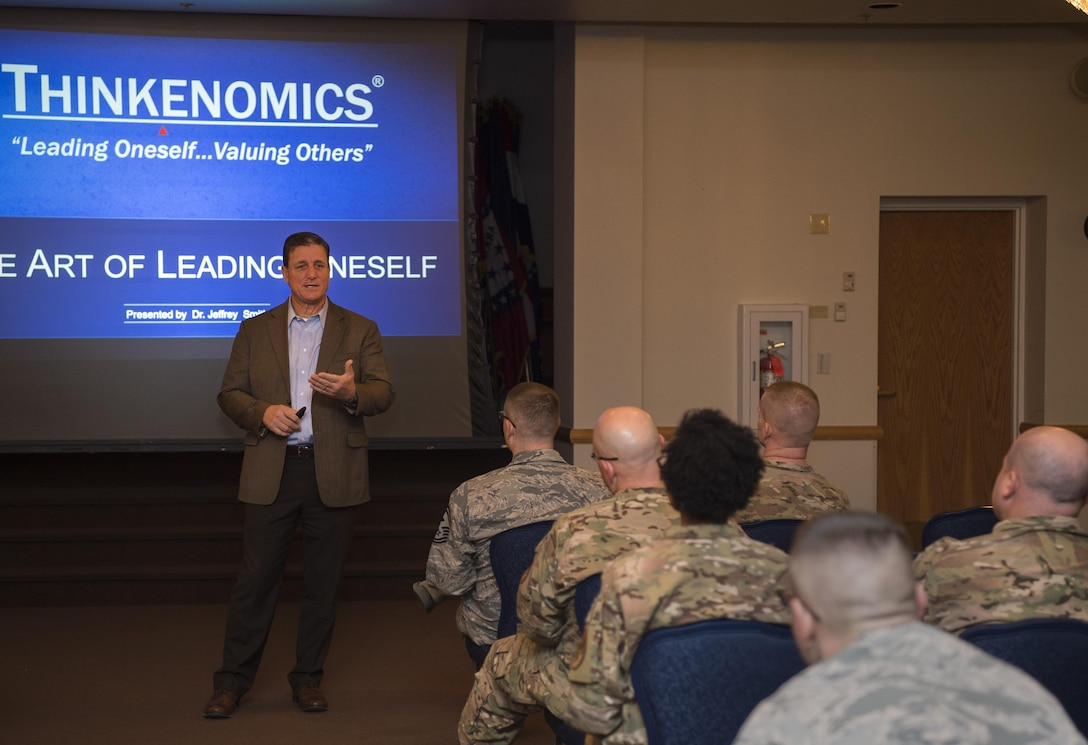 """Dr. Jeffrey Smith, Thinkenomics president, leads a course on, """"The Art of Leading Oneself"""" to security forces members at F.E. Warren Air Force Base, Wyo., March 9, 2017. Thinkenomics offers a unique approach to developing an organizational culture that begins with self-leadership."""" The course demonstrates that leadership starts by first improving the personal leadership style used, which in return will increase the productivity of those being lead.  (U.S. Air Force photo by Staff Sgt. Christopher Ruano)"""