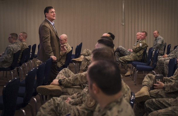"""Dr. Jeffrey Smith, Thinkenomics president, leads a course on, """"The Art of Leading Oneself"""" to security forces members at F.E. Warren Air Force Base, Wyo., March 9, 2017.  The course lasted for four days and was specifically geared at reaching defenders in the 90th Security Forces Group. (U.S. Air Force photo by Staff Sgt. Christopher Ruano)"""