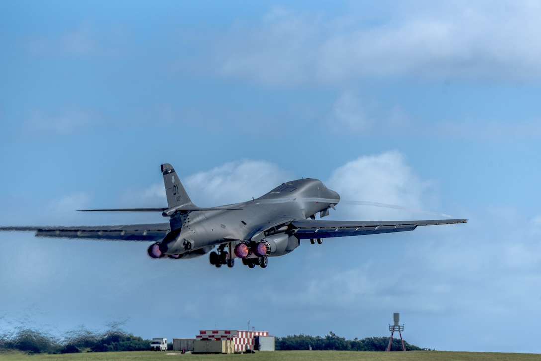 A U.S. Air Force B-1B Lancer assigned to the 9th Expeditionary Bomb Squadron, deployed from Dyess Air Force Base (AFB), Texas, takes off March 10, 2017, at Andersen AFB, Guam. The B-1B's are deployed to Andersen as part of U.S. Pacific Command's (USPACOM) Continuous Bomber Presence operations. This forward deployed presence demonstrates continuing U.S. commitment to stability and security in the Indo-Asia-Pacific region. Most importantly, these bomber rotations provide Pacific Air Forces and USPACOM commanders an extended deterrence capability. (U.S. Air Force photo by Airman 1st Class Jacob Skovo)