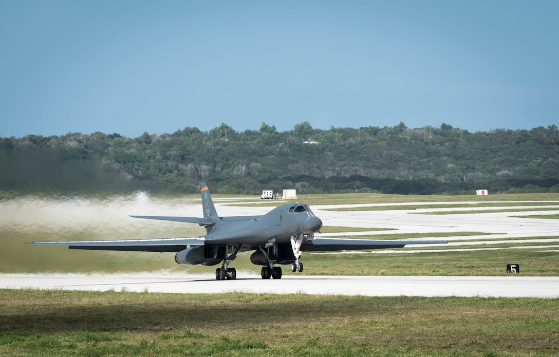 A U.S. Air Force B-1B Lancer assigned to the 9th Expeditionary Bomb Squadron, deployed from Dyess Air Force Base (AFB), Texas, takes off March 10, 2017, at Andersen AFB, Guam. The B-1B's are deployed to Andersen as part of U.S. Pacific Command's (USPACOM) Continuous Bomber Presence operations. This forward deployed presence demonstrates continuing U.S. commitment to stability and security in the Indo-Asia-Pacific region. Most importantly, these bomber rotations provide Pacific Air Forces and USPACOM commanders an extended deterrence capability. (U.S. Air Force photo by Senior Airman Joshua Smoot)