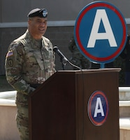 Lt. Gen. Michael Garrett, U.S. Army Central, commanding general, speaks during the change of command ceremony for Headquarters and Headquarters Battalion, USARCENT held at Shaw Air Force Base, S.C. March 3.