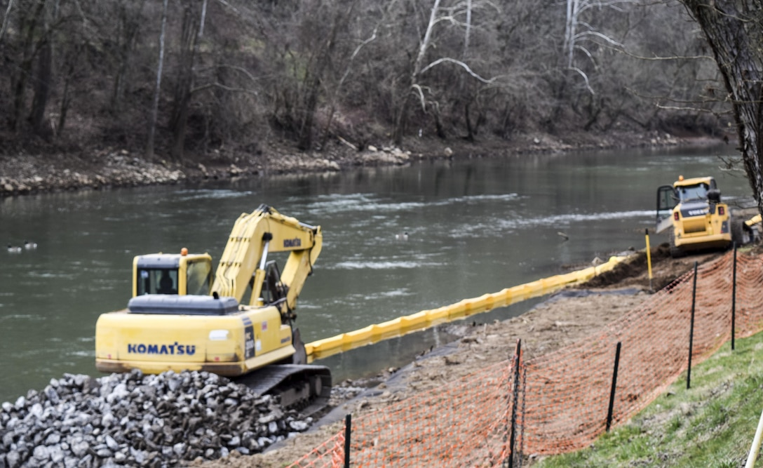The U.S. Army Corps of Engineers Pittsburgh District is partnering with the Town of Worthington to reclaim an eroded bank along a 1,400-foot stretch of the West Fork River. The more than $880,000 project is designed to protect a sanitary sewer line that runs along the riverbank. The project included installing R5 rip rap at the toe and R3 rip rap on the bank to help stop the erosion and protect the sewer line.