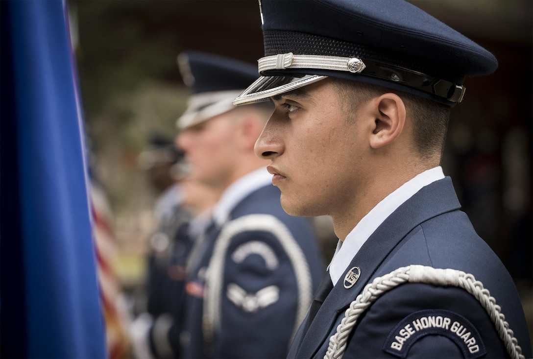 Senior Airman Blake Banning, 33rd Maintenance Squadron stands in a row of new Honor Guard Airmen prior to the unit's graduation ceremony at Eglin Air Force Base, Fla., March 1.  Approximately 12 new Airmen graduated from the 120-plus-hour course. The graduation performance includes flag detail, rifle volley, pall bearers and bugler for friends, family and unit commanders. (U.S. Air Force photo/Samuel King Jr.)