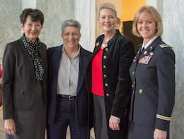 (Left to right) The Honorable Coral Wong Pietsch, retired Command Sgt. Maj. Cindy Pritchett, retired Brig. Gen. Anne MacDonald, and Chief Warrant Officer 5 Phyllis Wilson pose for pictures at the U.S. Army Women's Foundation Hall of Fame Induction ceremony in Washington, D.C., on March 8, 2017.  Pietsch and Wilson represented the Army Reserve at the ceremony.