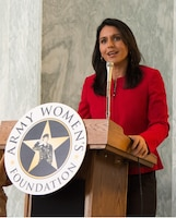Hawaii Congresswoman Tulsi Gabbard shares empowering and inspiring words at the U.S. Army Women's Foundation Hall of Fame Induction ceremony in Washington, D.C., on March 8, 2017.