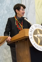 The Honorable Coral Wong Pietsch shares fond memories of being commissioned in a small kitchen in Kensington, Maryland at the U.S. Army Women's Foundation Hall of Fame Induction ceremony in Washington, D.C., on March 8, 2017.