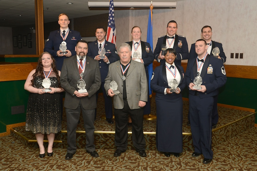 Award winners of the 2016 Team McChord Annual Awards Banquet pose for a photo after the ceremony March 10, 2017 at Joint Base Lewis-McChord, Wash. The theme for this year's banquet was winning the war in air, space and cyber using the knowledge of our millennials and the guest speaker was Col. Jeremy Horn, 194th Wing Washington Air National Guard commander. (U.S. Air Force photo/Senior Airman Divine Cox)