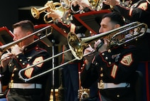 """Musicians with the Marine Corps Jazz Orchestra perform at the Orange County School of the Arts Concert Hall, Mar. 1, 2017. This is the first of many upcoming performances throughout California that showcase the United States Marine Corps' gratitude and appreciation for the American people through the power of music, and highlights the talents of Marine musicians in a way that inspires others to join their ranks. Formed in 2008, the Marine Corps Jazz Orchestra has included members from the world-renowned """"The Commandants Own"""" U.S. Marine Drum and Bugle Corps, and """"The President's Own"""" U.S. Marine Band, as well as the 10 elite U.S. Marine Corps Field Bands."""