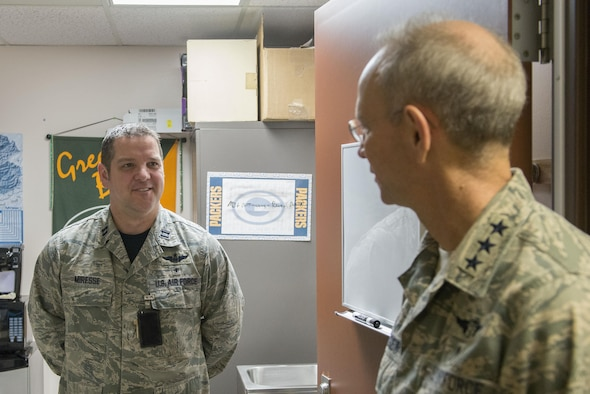 U.S. Air Force Lt. Gen. Mark Ediger, the Air Force surgeon general, speaks with Capt. Steven Miresse, a 354th Medical Group health care integrator, March 10, 2017 at Eielson Air Force Base, Alaska. Ediger entered the Air Force in 1985 and has served as the Aerospace Medicine Consultant to the Air Force surgeon general, commanded two medical groups and served as command surgeon for three major commands. (U.S. Air Force photo by Airman Eric M. Fisher)