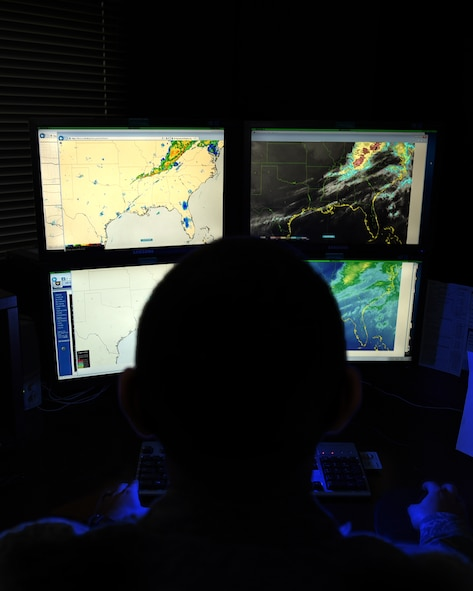 U.S. Air Force Airman 1st Class Jacob Phipps, 19th Operations Support Squadron Weather Flight journeyman, monitors a radar screen Feb. 29, 2017, at Little Rock Air Force Base, Ark. The radars enable Phipps to identify precipitation, lightning strikes and potential thunderstorms within the local area. (U.S. Air Force photo by Airman 1st Class Kevin Sommer Giron)