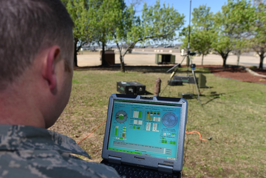 U.S. Air Force Tech. Sgt. Jesse Miller, 19th Operations Support Squadron Weather Flight forecaster, monitors weather data collected by a Tactical Meteorological Observing System March 8, 2017, at Little Rock Air Force Base, Ark. Weather Airmen use this system in case the main weather sensors on the airfield are not working. (U.S. Air Force photo by Airman 1st Class Kevin Sommer Giron)