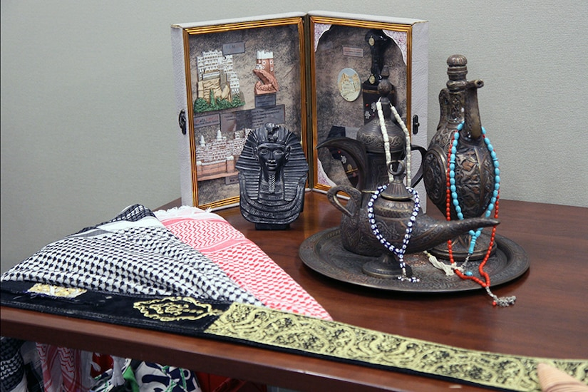 Mementos obtained during travels and assignments to the Middle East were on display for U.S. Army Central Soldiers and their Family Members during a quarterly Headquarters and Headquarters Battalion, USARCENT Family Readiness Group meeting at Shaw Air Force Base, S.C. March 9.