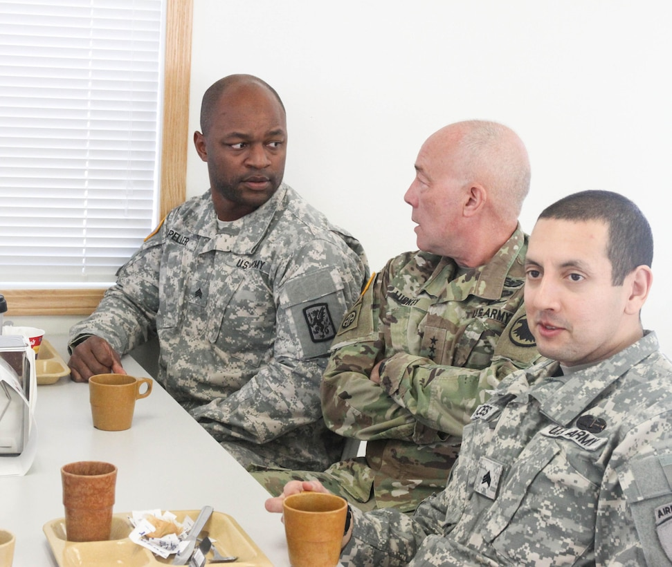 LTG Charles D. Luckey, Commanding General of U.S. Army Reserve Command, talks to U.S. Army Reserve Soldiers during breakfast at Operation Cold Steel at Fort McCoy, Wis., March 10, 2017. Operation Cold Steel is the U.S. Army Reserve's crew-served weapons qualification and validation exercise to ensure that America's Army Reserve units and soldiers are trained and ready to deploy on short-notice and bring combat-ready and lethal firepower in support of the Army and our joint partners anywhere in the world. (U.S. Army Reserve photo by Staff Sgt. Debralee Best, 84th Training Command Public Affairs)