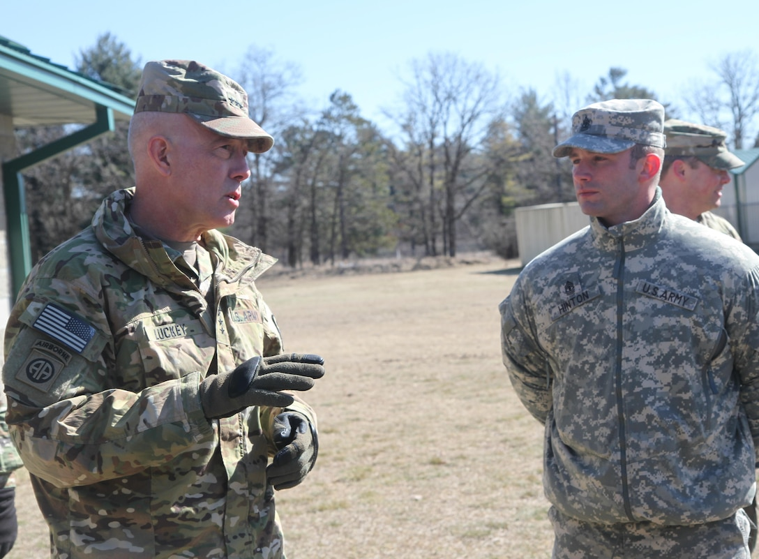 1st. Sgt. Shane Hinton, a drill sergeant in 3rd Battalion, 334th Infantry Regiment, 95th Training Division, 108th Training Command, listens intently to LTG Charles D. Luckey, Commanding General of U.S. Army Reserve Command; Hinton briefed the Commanding General on Operation Cold Steel range operations at Fort McCoy, Wis., March 10, 2017. Operation Cold Steel is the U.S. Army Reserve's crew-served weapons qualification and validation exercise to ensure that America's Army Reserve units and soldiers are trained and ready to deploy on short-notice and bring combat-ready and lethal firepower in support of the Army and our joint partners anywhere in the world.
