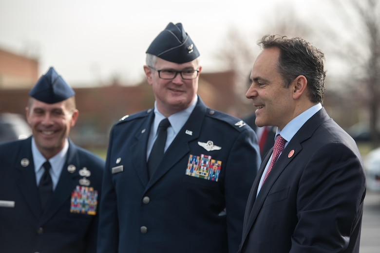 Kentucky Gov. Matt Bevin (right) talks with Col. David Mounkes, commander of the 123rd Airlift Wing, while they wait for Vice President Mike Pence to arrive at the Kentucky Air National Guard Base in Louisville, Ky., March 11, 2017. Pence was in Louisville to speak with local business leaders about health care and the economy. (U.S. Air National Guard photo by Staff Sgt. Joshua Horton)