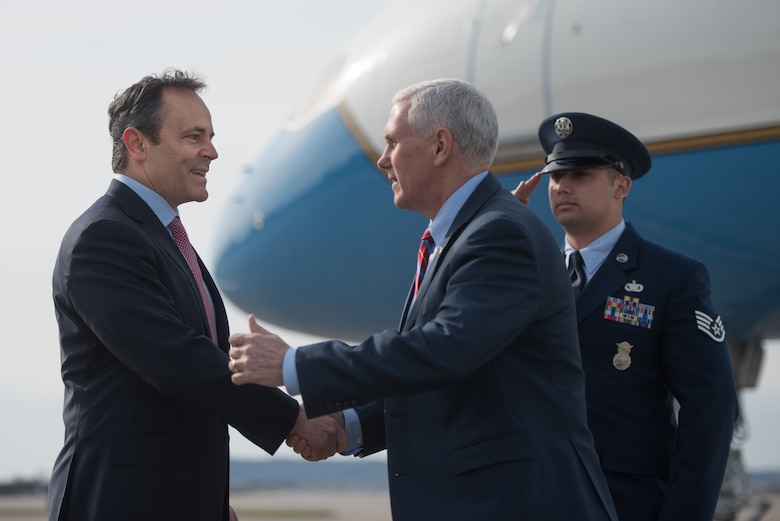 Kentucky Gov. Matt Bevin (left) greets Vice President Mike Pence (center) at the Kentucky Air National Guard Base in Louisville, Ky., March 11, 2017. Pence was in Louisville to speak with local business leaders about health care and the economy. (U.S. Air National Guard photo by Staff Sgt. Joshua Horton)
