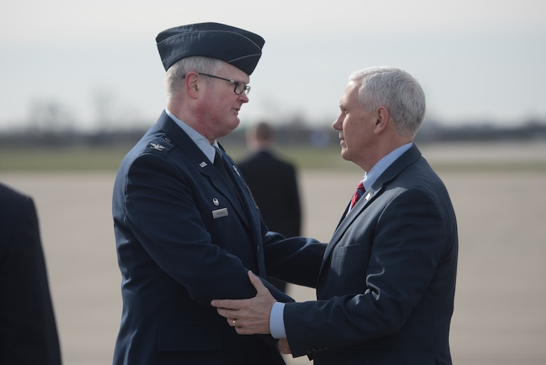 Col. David Mounkes (left), commander of the 123rd Airlift Wing, greets Vice President Mike Pence (right) at the Kentucky Air National Guard Base in Louisville, Ky., March 11, 2017. Pence was in Louisville to speak with local business leaders about health care and the economy. (U.S. Air National Guard photo by Staff Sgt. Joshua Horton)
