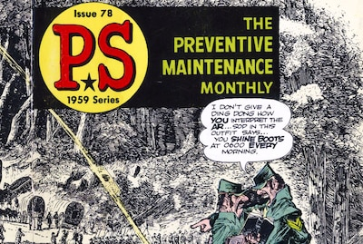 Will Eisner created comics used to train military personnel, like this 1959 cover for P.S. Magazine, for more than 20 years. Army photo