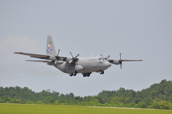 One of the 908th Airlift Wing's eight C-130 Hercules takes off at Maxwell Air Force Base. (U.S. Air Force photo by Lt. Col. Jerry Lobb)