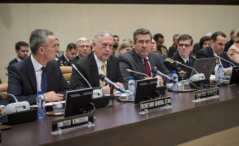 Defense Secretary Jim Mattis and NATO Secretary General Jens Stoltenberg, left, participate in a meeting of defense leaders from nations participating in the coalition to counter the Islamic State of Iraq and Syria at NATO headquarters in Brussels, Feb. 16, 2017. DoD photo by Air Force Tech. Sgt. Brigitte N. Brantley