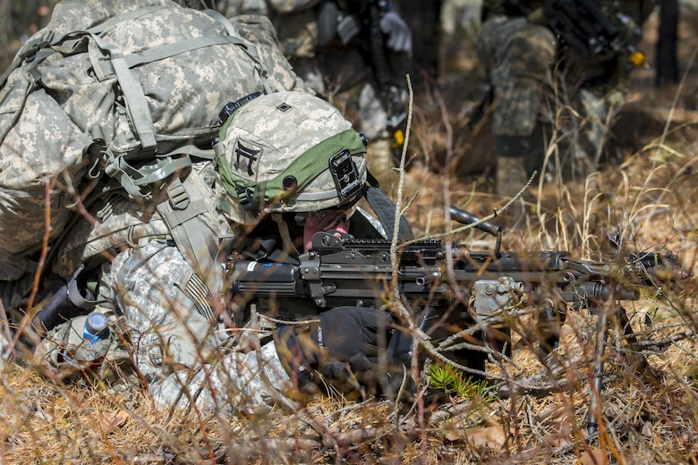 An Army Soldier assigned to the 101st Airborne Division (Air Assault) engages enemy forces at Lakehurst Maxfield Field during a multi-component airfield seizure training exercise between the Army Reserve and the 101st Airborne Division on March 13, 2017 to kick off Warrior Exercise 78-17-01. Several Army Reserve organizations including the Army Reserve Aviation Command, 84th Training Command, 78th Training Division, and members of the 200th Military Police Command helped Easy Company, 2nd Battalion, 506th Parachute Infantry Regiment, 101st Airborne Division conduct the mission. Roughly 60 units from the U.S. Army Reserve, U.S. Army, U.S. Air Force, and Canadian Armed Forces are participating in the 84th Training Command's joint training exercise, WAREX 78-17-01, at Joint Base McGuire-Dix-Lakehurst from March 8 until April 1, 2017; the WAREX is a large-scale collective training event designed to assess units' combat capabilities as America's Army Reserve continues to build the most capable, combat-ready, and lethal Federal Reserve force in the history of the Nation. (Army Reserve Photo by Sgt. Stephanie Ramirez/ Released)