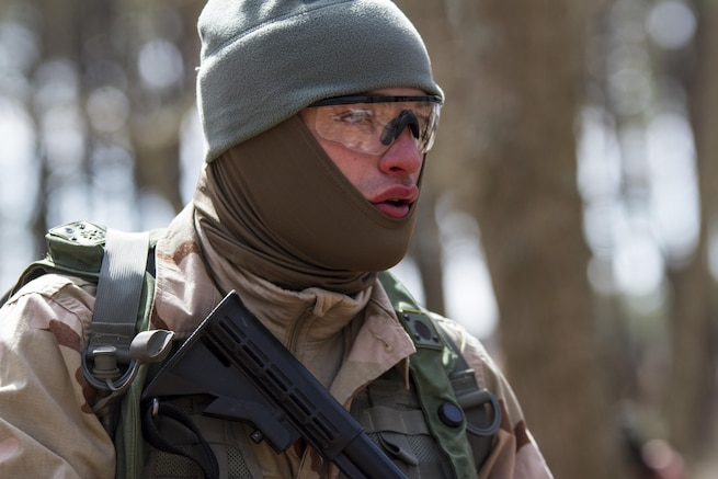 Acting as the enemy force, Pfc. Lucas Palmer, Army Reserve Soldier assigned to the 363rd Military Police Company, takes a breath after engaging Soldiers from the 101st Airborne Division (Air Assault) at Lakehurst Maxfield Field during a multi-component airfield seizure training exercise between the Army Reserve and the 101st Airborne Division on March 13, 2017 to kick off Warrior Exercise 78-17-01. Several Army Reserve organizations including the Army Reserve Aviation Command, 84th Training Command, 78th Training Division, and members of the 200th Military Police Command helped Easy Company, 2nd Battalion, 506th Parachute Infantry Regiment, 101st Airborne Division conduct the mission. Roughly 60 units from the U.S. Army Reserve, U.S. Army, U.S. Air Force, and Canadian Armed Forces are participating in the 84th Training Command's joint training exercise, WAREX 78-17-01, at Joint Base McGuire-Dix-Lakehurst from March 8 until April 1, 2017; the WAREX is a large-scale collective training event designed to assess units' combat capabilities as America's Army Reserve continues to build the most capable, combat-ready, and lethal Federal Reserve force in the history of the Nation. (Army Reserve Photo by Sgt. Stephanie Ramirez/ Released)