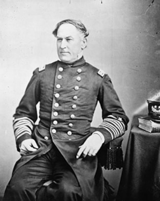 The leadership actions of Union commander Adm. David Farragut (seen here) during the Civil War are used as an example in a history class at the U.S. Air Force Academy to be seen nationwide as part of a CSPAN-3 special broadcast. (Courtesy photo)