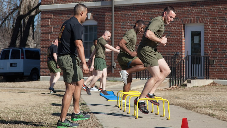 Faculty advisors at the Marine Corps Base Quantico Staff Noncommissioned Officer Academy mentor and monitor Marine students during physical training at MCB Quantico, Virginia, Mar. 8, 2017. Enlisted Marines come to Quantico in order to be qualified and teach as a faculty advisor, a role that helps facilitate hundreds of Marines a year in their resident professional military education.