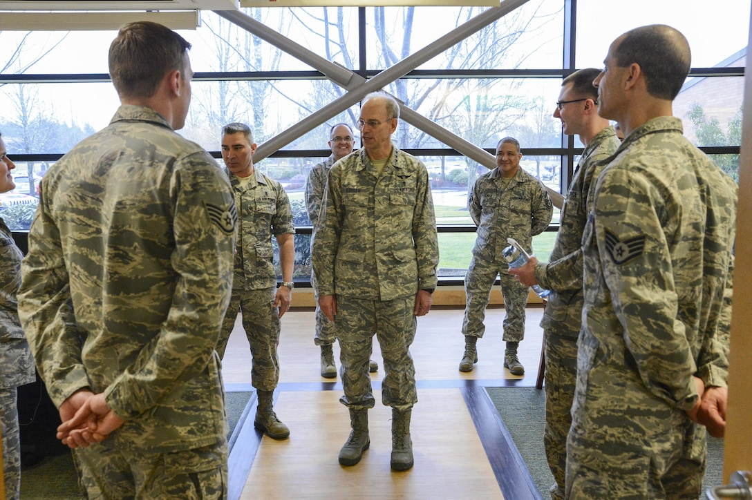 Lt. Gen. Mark Ediger, Air Force surgeon general, speaks with 62nd Medical Squadron Airmen March 7, 2017, at Joint Base Lewis-McChord, Wash. During his visit, Ediger met with 62nd MDS leadership and Airmen to gain a better understanding of the unit's mission. (U.S. Air Force photo by Master Sgt. Sean Tobin)