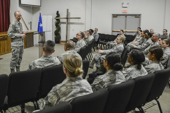 Lt. Gen. Mark Ediger, Air Force surgeon general, holds an all-call with 62nd Medical Squadron Airmen March 7, 2017, at Joint Base Lewis-McChord, Wash. Among other topics, Ediger discussed the changing mission of deployed medical Airmen as members continue to deploy to more remote locations. (U.S. Air Force photo by Master Sgt. Sean Tobin)