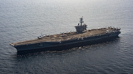 The aircraft carrier USS Carl Vinson (CVN 70) transits the South China Sea, Mar. 6, 2017. The Carl Vinson Carrier Strike Group is on a regularly scheduled Western Pacific deployment as part of the U.S. Pacific Fleet-led initiative to extend the command and control functions of U.S. 3rd Fleet. U.S Navy aircraft carrier strike groups have patrolled the Indo-Asia-Pacific regularly and routinely for more than 70 years.