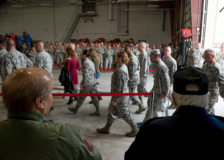Fellow Airmen, family and supporters welcome home over 91 Airmen from deployment during a ceremony at the 138th Fighter Wing in Tulsa, Okla., March 5, 2017. The ceremony was held to welcome the Airmen home and recognize their efforts and contributions made overseas while deployed. (U.S. Air National Guard photo by Senior Airman Rebecca Imwalle)