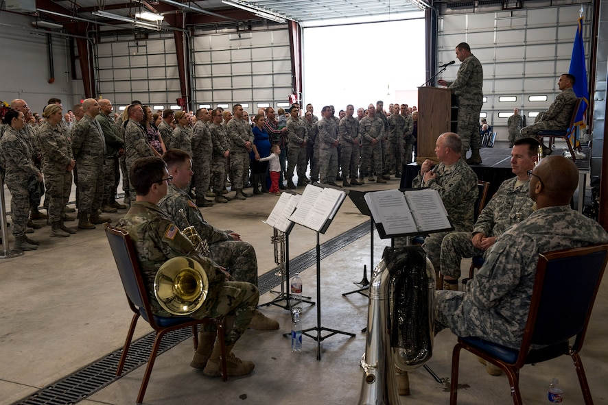 More than 90 Airmen from the 138th Fighter Wing were recognized for their support overseas during a homecoming ceremony in Tulsa, Okla., March 5, 2017. While deployed, Airmen were a part of ongoing missions overseas in support of Operations Freedom Sentinel, Inherent Resolve, Resolute Support and Spartan Shield. (U.S. Air National Guard photo by Senior Airman Rebecca Imwalle)