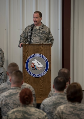 Brigadier General David Burgy, Chief of Staff of the Oklahoma Air National Guard speaks during a homecoming ceremony at the 138th Fighter Wing in Tulsa, Okla., March 5, 2017. More than 90 Airmen deployed from 12 squadrons across the 138th FW. (U.S. Air National Guard photo by Senior Airman Rebecca Imwalle)