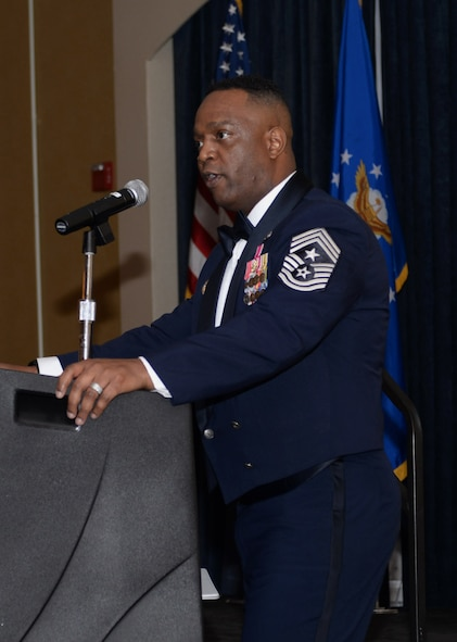 Chief Master Sgt. Calvin Williams, Air Force Global Strike Command command chief, speaks to attendees of Ellsworth's chief recognition ceremony at the Dakota's Club during a visit to Ellsworth Air Force Base, S.D., March 2, 2017. The ceremony recognized the base's four senior noncommissioned officers who were recently promoted to the top 1 percent of the Air Force's enlisted corps. (U.S. Air Force photo by Airman 1st Class Denise M. Jenson)