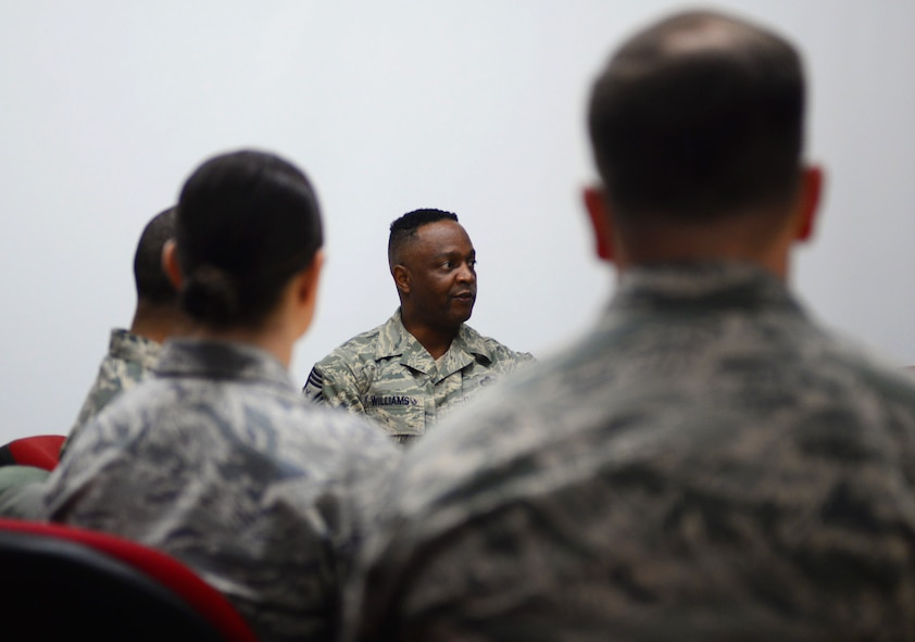 Chief Master Sgt. Calvin Williams, Air Force Global Strike Command command chief, speaks with members of the administrative career fields during a visit to Ellsworth Air Force Base, S.D., March 2, 2017. Williams listened to their concerns and answered questions during the session, providing useful advice on furthering their careers. (U.S. Air Force photo by Airman 1st Class Denise M. Jenson)