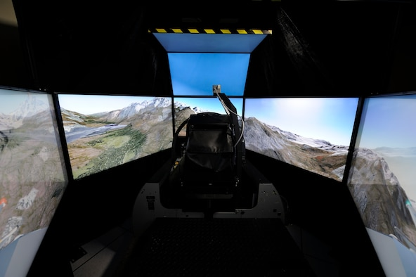 The F-15C Eagle training simulators at Tyndall Air Force Base, Fla., recently underwent upgrades to their visual systems. The new flat-panel television screens will create a more realistic environment for the pilots, while also being more cost effective. (Courtesy Photo)