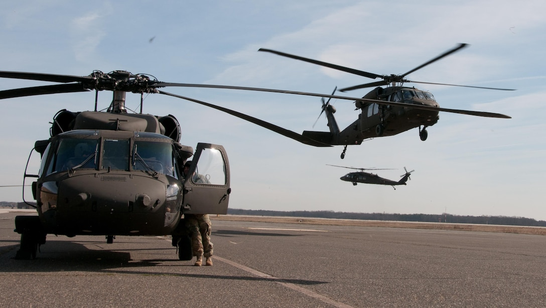 Army Reserve UH-60 Black Hawk Helicopters from 8th Battalion, 229th Aviation Regiment, based out of Fort Knox, Ky., depart to Lakehurst Maxfield Field during a multi-component airfield seizure training exercise between the Army Reserve and the 101st Airborne Division (Air Assault) on March 13, 2017 to kick off Warrior Exercise 78-17-01. Several Army Reserve organizations including the Army Reserve Aviation Command, 84th Training Command, 78th Training Division, and members of the 200th Military Police Command helped Easy Company, 2nd Battalion, 506th Parachute Infantry Regiment, 101st Airborne Division conduct the mission. Roughly 60 units from the U.S. Army Reserve, U.S. Army, U.S. Air Force, and Canadian Armed Forces are participating in the 84th Training Command's joint training exercise, WAREX 78-17-01, at Joint Base McGuire-Dix-Lakehurst from March 8 until April 1, 2017; the WAREX is a large-scale collective training event designed to assess units' combat capabilities as America's Army Reserve continues to build the most capable, combat-ready, and lethal Federal Reserve force in the history of the Nation.