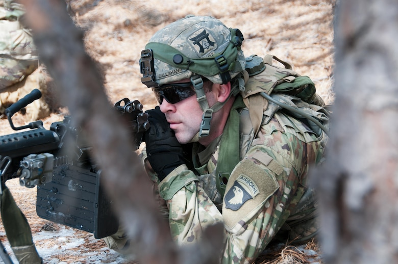 Army Soldiers assigned to the 101st Airborne Division (Air Assault), engage enemy forces at Lakehurst Maxfield Field during a multi-component airfield seizure training exercise with the Army Reserve and the 101st Airborne Division on March 13, 2017 to kick off Warrior Exercise 78-17-01. Several Army Reserve organizations including the Army Reserve Aviation Command, 84th Training Command, 78th Training Division, and members of the 200th Military Police Command helped Easy Company, 2nd Battalion, 506th Parachute Infantry Regiment, 101st Airborne Division conduct the mission. Roughly 60 units from the U.S. Army Reserve, U.S. Army, U.S. Air Force, and Canadian Armed Forces are participating in the 84th Training Command's joint training exercise, WAREX 78-17-01, at Joint Base McGuire-Dix-Lakehurst from March 8 until April 1, 2017; the WAREX is a large-scale collective training event designed to assess units' combat capabilities as America's Army Reserve continues to build the most capable, combat-ready, and lethal Federal Reserve force in the history of the Nation.
