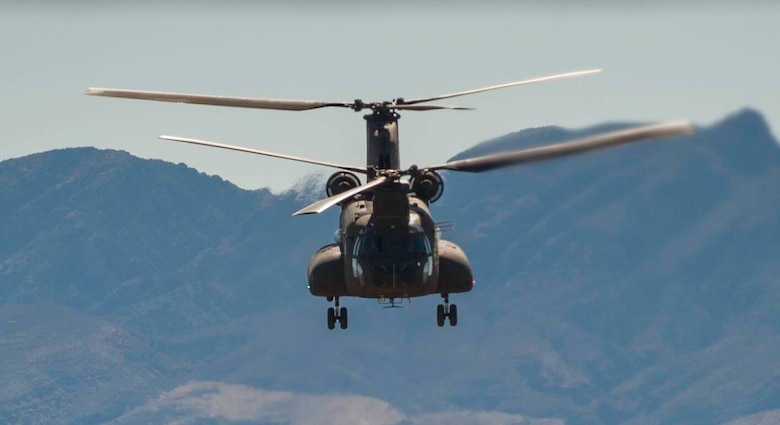 A Singapore air force CH-47 Chinook flies over the Nevada Test and Training Range, during a Red Flag 17-2 combat search and rescue mission, March 6, 2017. In performing these missions and working with coalition partners, Red Flag allows the members of the Singapore air force to extend their skill set. (U.S. Air Force photo by Airman 1st Class Kevin Tanenbaum/Released)