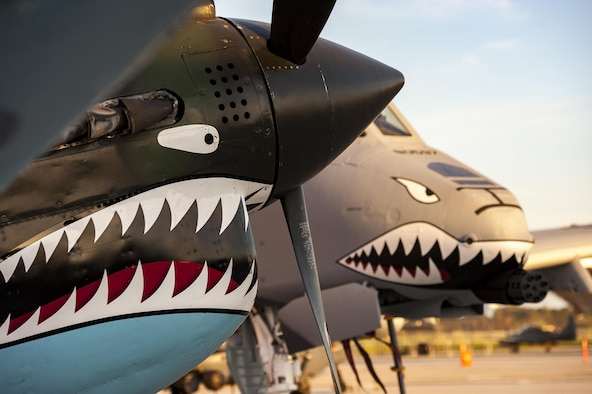 A Curtiss P-40 Warhawk and an A-10C Thunderbolt II static display rest on the flight line during the 75th Anniversary Flying Tiger Reunion, March 10, 2017, at Moody Air Force Base, Ga. In 1941, President Roosevelt signed an executive order forming the American Volunteer Group. The AVG was organized into the 1st, 2nd, and 3rd Pursuit Squadrons and later disbanded and replaced by the 23d Fighter Group in 1942. Under the command of Gen. Claire Chennault, the Flying Tigers comprised of the 74th, 75th, and 76th Pursuit Squadrons defended China against the Japanese. Throughout World War II, the Flying Tigers achieved combat success and flew the US-made Curtiss P-40 Warhawks painted with the shark-mouth design. (U.S. Air Force photo by Andrea Jenkins)
